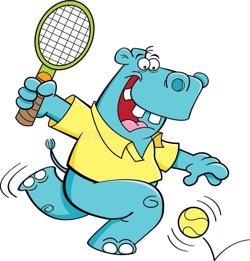 打网球的动画片河马 库存例证