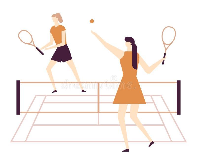 打网球-平的设计样式五颜六色的例证的女孩 向量例证