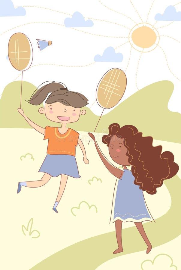 打羽毛球的两个年轻逗人喜爱的多种族孩子 向量例证