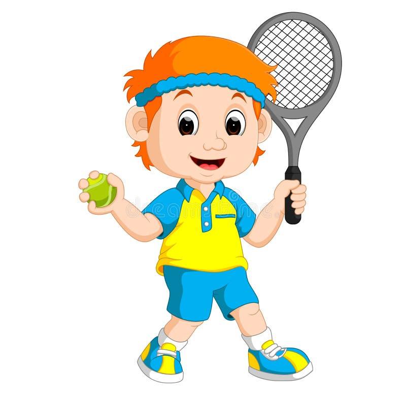 打草地网球运动的男孩 库存例证