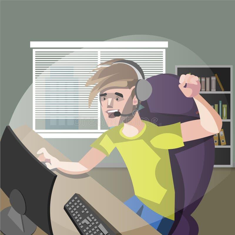 打计算机游戏的年轻人游戏玩家 向量例证
