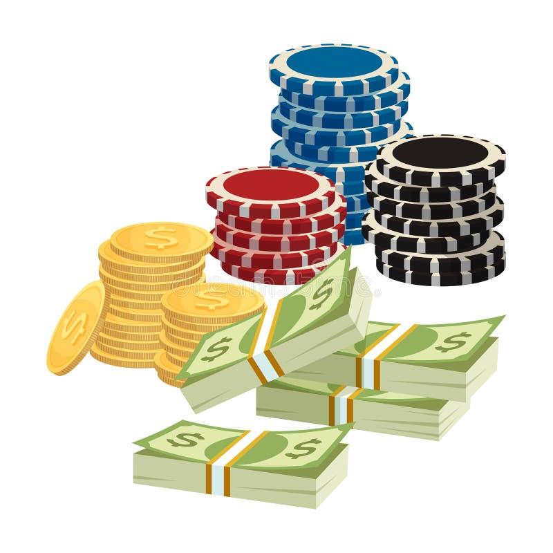 打赌赌博的概念 纸牌筹码,与美元的符号的金黄硬币 皇族释放例证