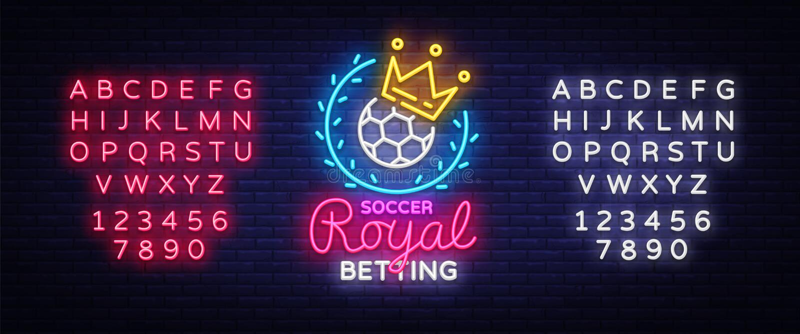 打赌足球霓虹灯广告 打赌在霓虹样式,皇家概念,轻的横幅,明亮的夜的橄榄球商标打赌体育 向量例证