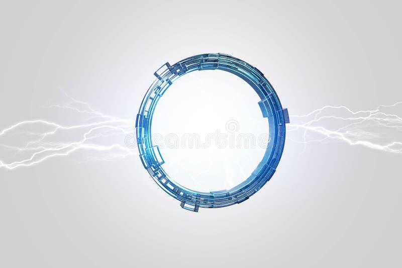 打雷在科幻轮子接口的照明设备螺栓- 3d 库存例证