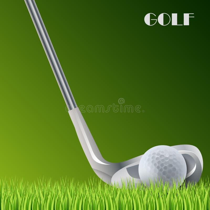 打高尔夫球与球和棍子模板的绿色背景 库存例证