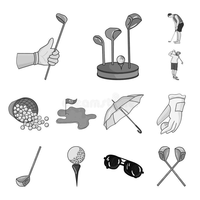打高尔夫球和在集合汇集的属性单色象的设计 高尔夫俱乐部和设备导航标志储蓄网 向量例证