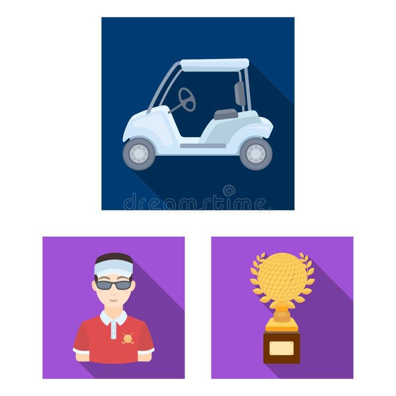打高尔夫球和在集合汇集的属性平的象的设计 高尔夫俱乐部和设备导航标志储蓄网例证 库存例证