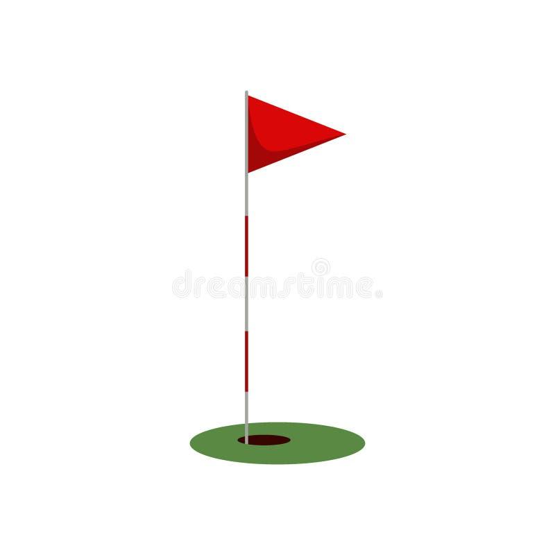 打高尔夫球在草的旗子与在白色背景隔绝的孔,打高尔夫球的平的元素,高尔夫用品-传染媒介 库存例证