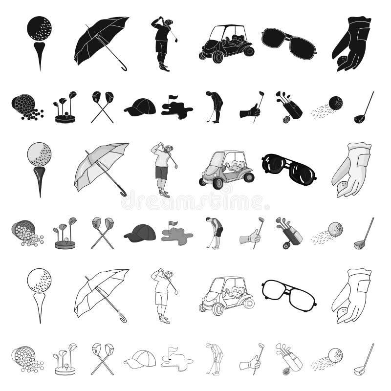 打高尔夫球并且归因于在集合汇集的动画片象的设计 高尔夫俱乐部和设备导航标志储蓄网 库存例证