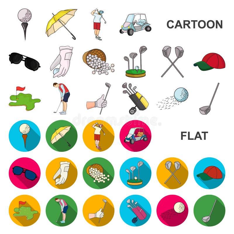 打高尔夫球并且归因于在集合汇集的动画片象的设计 高尔夫俱乐部和设备导航标志储蓄网 皇族释放例证