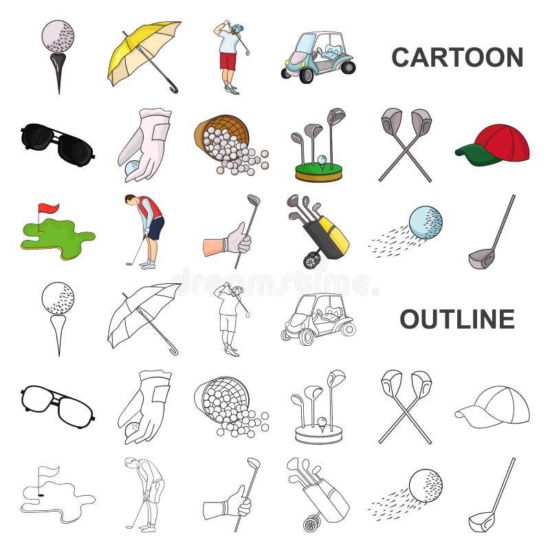 打高尔夫球并且归因于在集合汇集的动画片象的设计 高尔夫俱乐部和设备导航标志储蓄网 向量例证