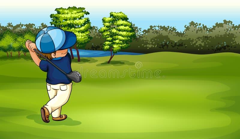 打高尔夫球的男孩 皇族释放例证