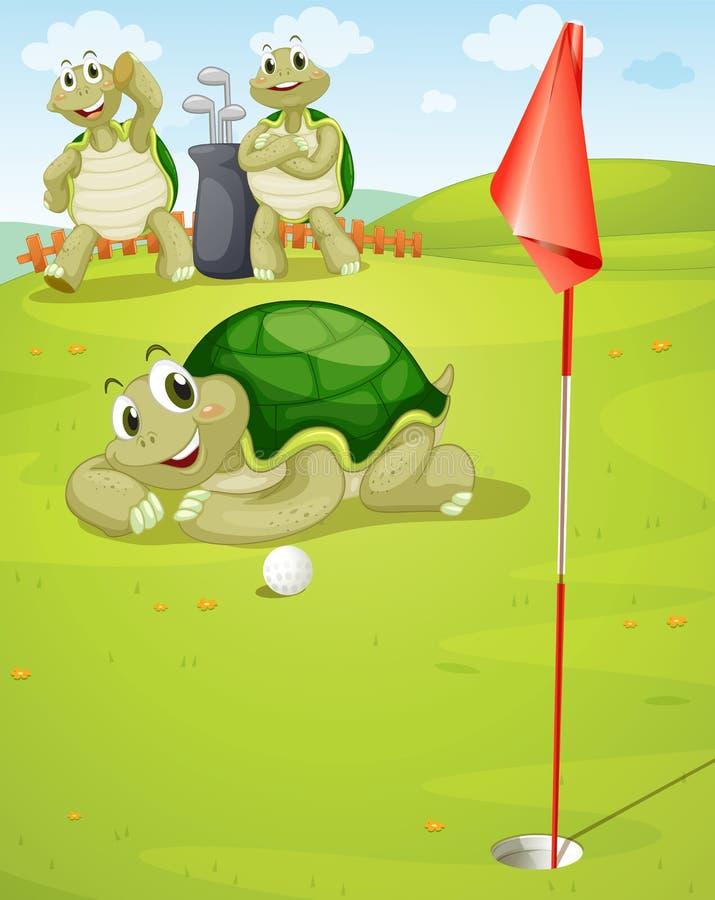 打高尔夫球的草龟 皇族释放例证