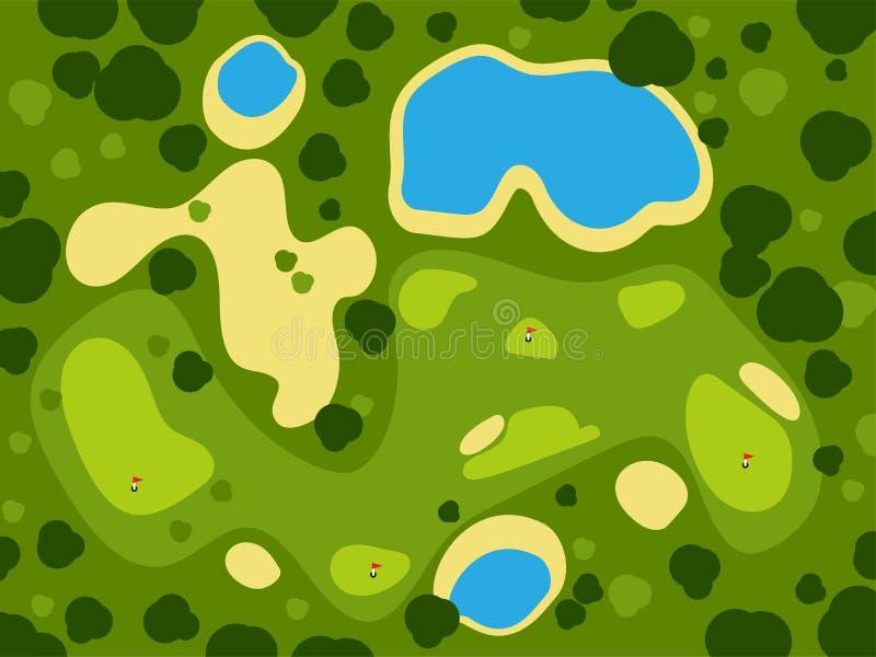 打高尔夫球领域路线绿草体育风景戏剧俱乐部比赛打高尔夫球的孔室外背景传染媒介例证 向量例证