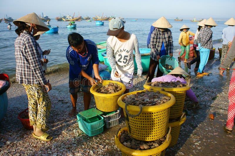 打鸣的大气在海滩的海鲜市场上 图库摄影