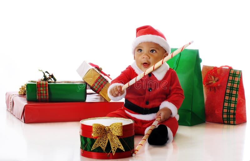 打鼓圣诞老人 免版税库存照片