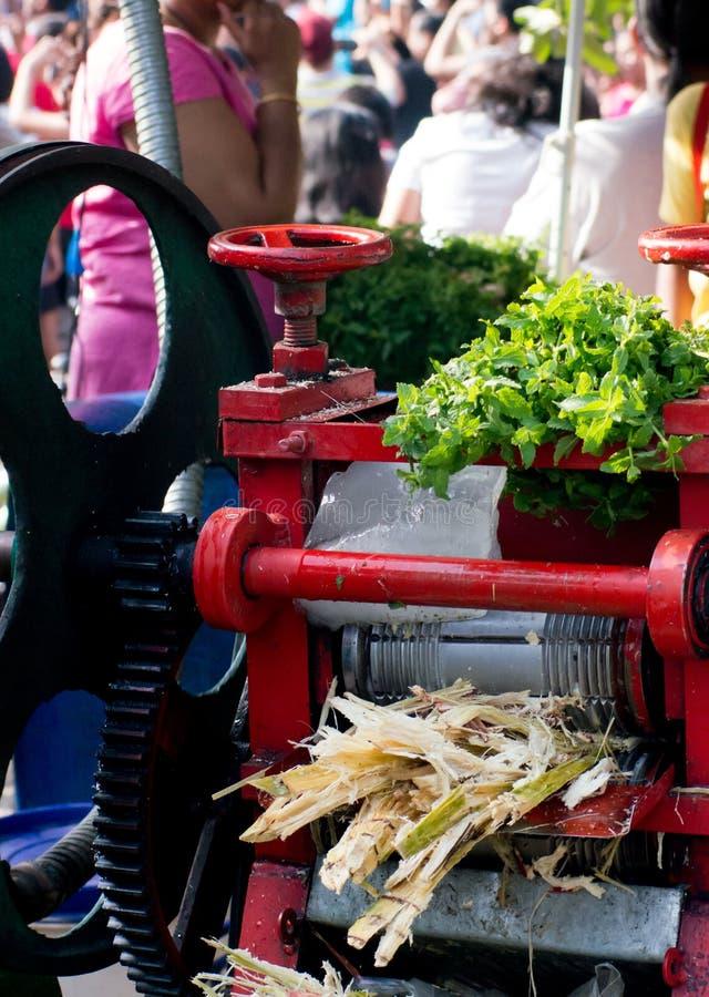 打鼓新闻使用对汁液甘蔗在印度 免版税库存图片