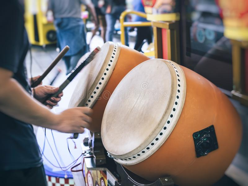 打鼓球员传统风格日本娱乐节日事件 库存图片