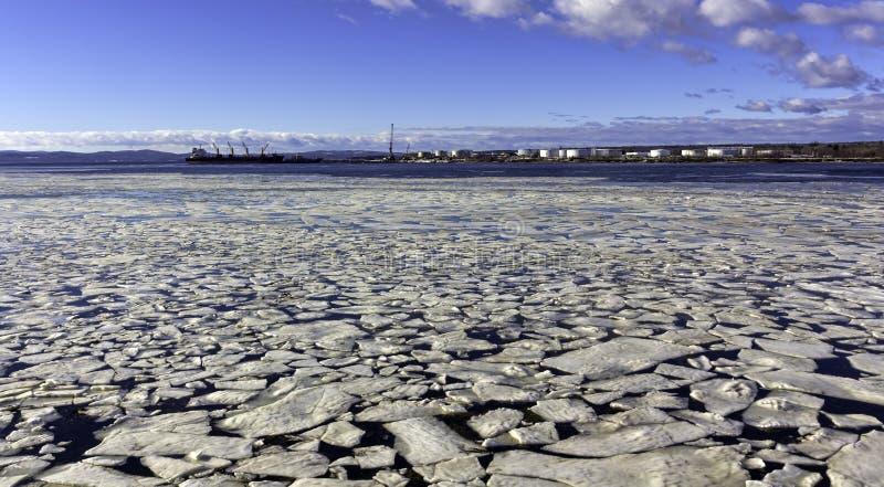 打破与罐车的冰在海湾 库存图片
