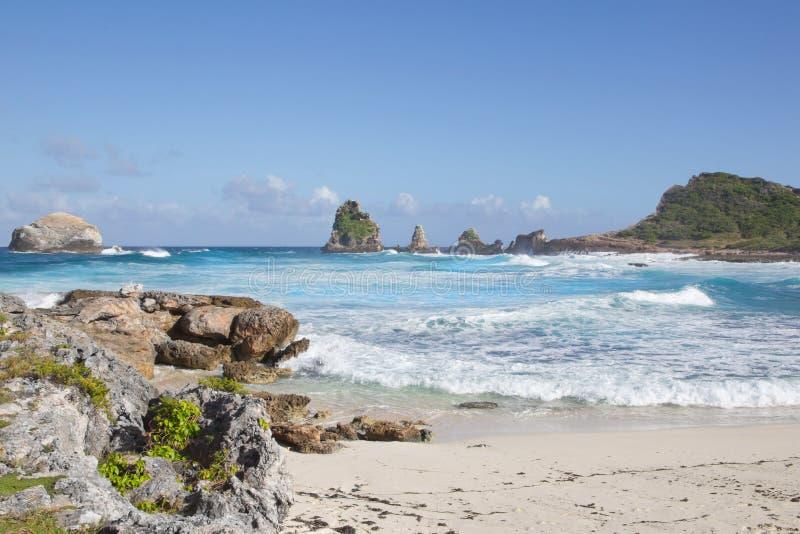 打破在热带海滩的波浪在马提尼克岛 库存照片