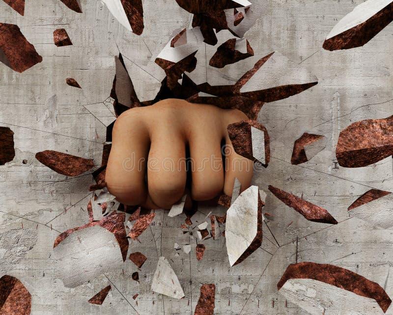 打破墙壁的拳头 向量例证