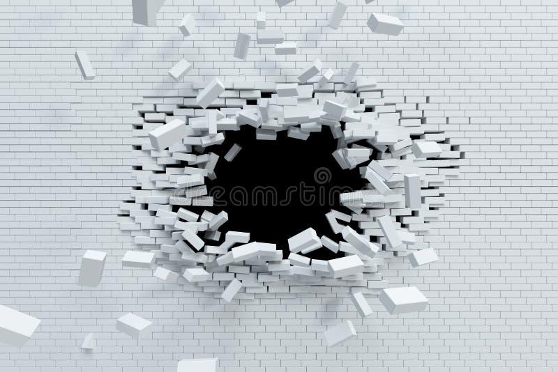打破砖墙 向量例证