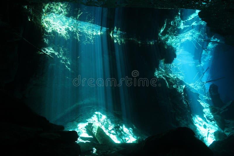 Chac Mool Cenote 免版税库存图片