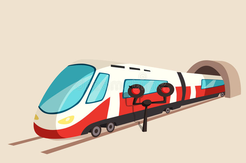 打滑从隧道和一刹那光的火车运动 皇族释放例证