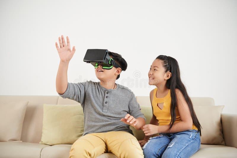 打VR比赛 免版税库存照片