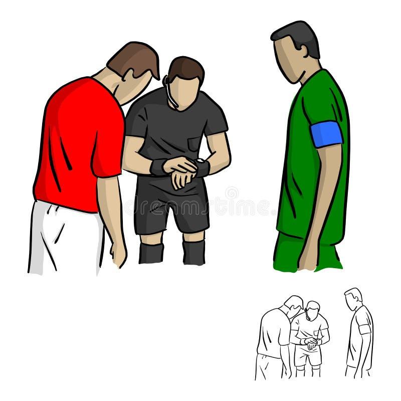 扔硬币的男性裁判员在足球赛传染媒介illus前 向量例证