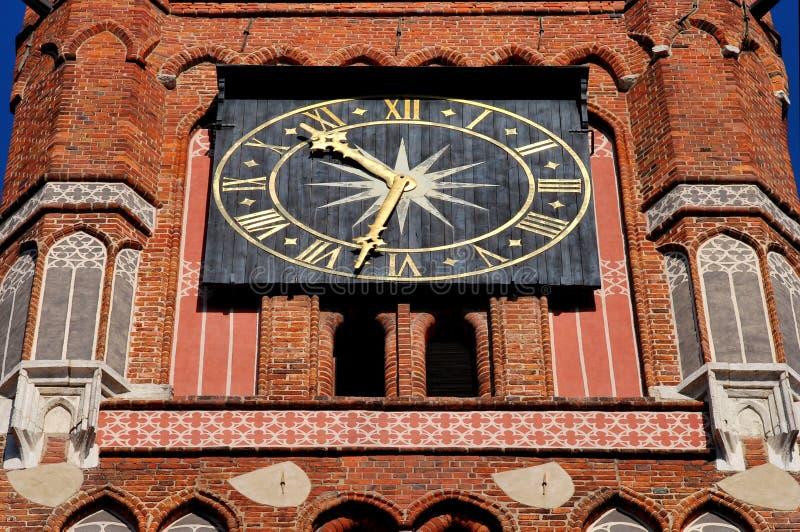 托伦市-时钟 免版税库存照片
