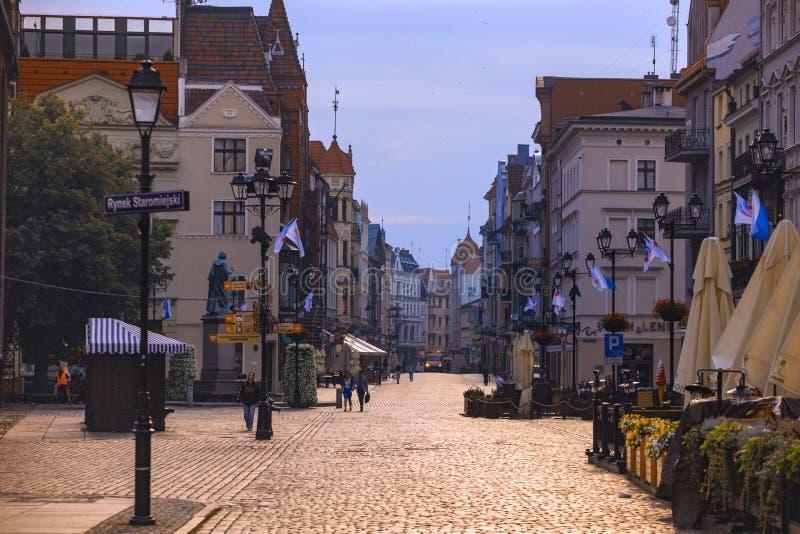 托伦街道老波兰镇的看法  免版税库存照片
