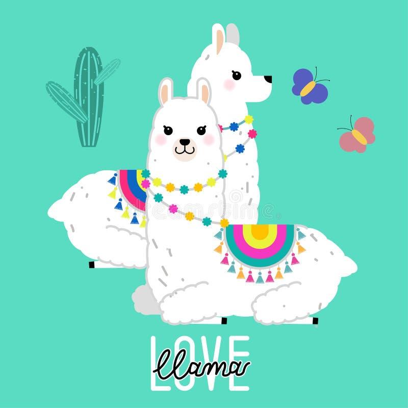 托儿所的逗人喜爱的骆马和羊魄例证设计,海报、问候、生日贺卡、婴儿送礼会设计和党装饰 库存例证