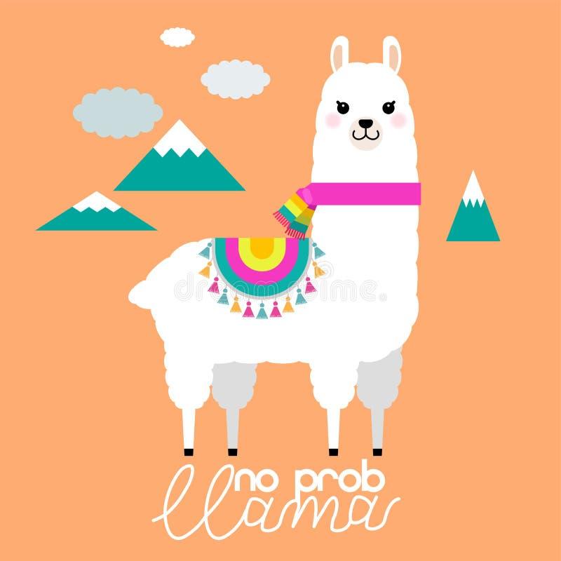 托儿所的逗人喜爱的骆马和羊魄例证设计,海报、问候、生日贺卡、婴儿送礼会设计和党装饰 向量例证