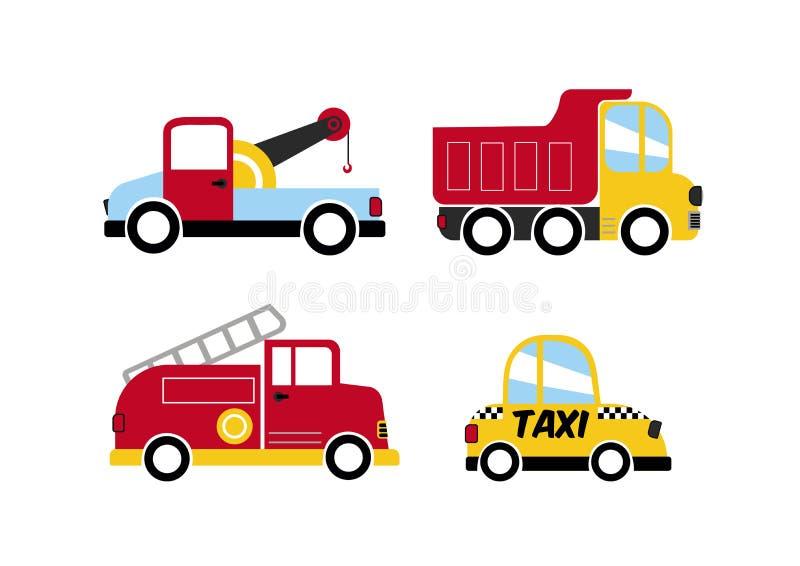 托儿所车设置了4,出租汽车+卡车+起重机范+消防车 向量例证