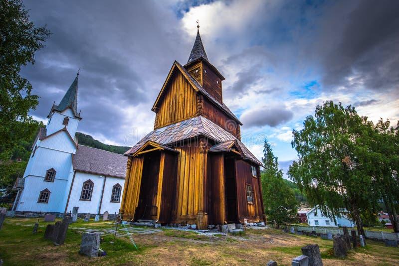 托尔波・斯塔夫教堂- 2018年7月30日:挪威托尔波壁教堂 库存照片