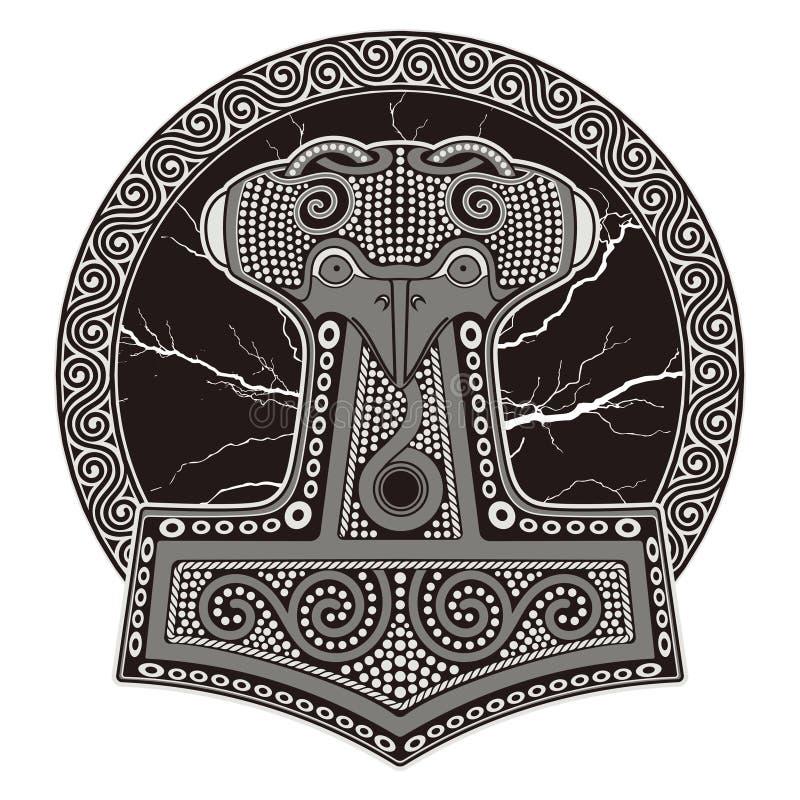 托尔` s锤子- Mjollnir 反对闪烁的闪电和斯堪的纳维亚装饰品的背景 皇族释放例证