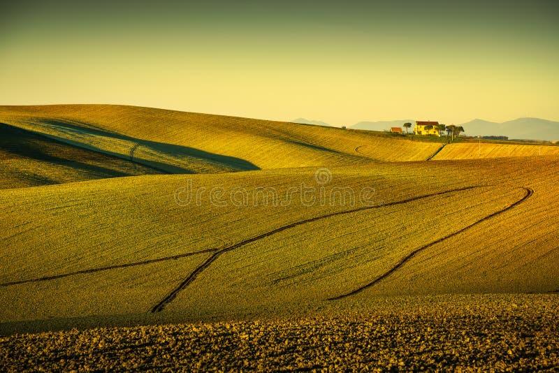 托斯卡纳乡下全景、绵延山和被犁的领域  免版税库存图片