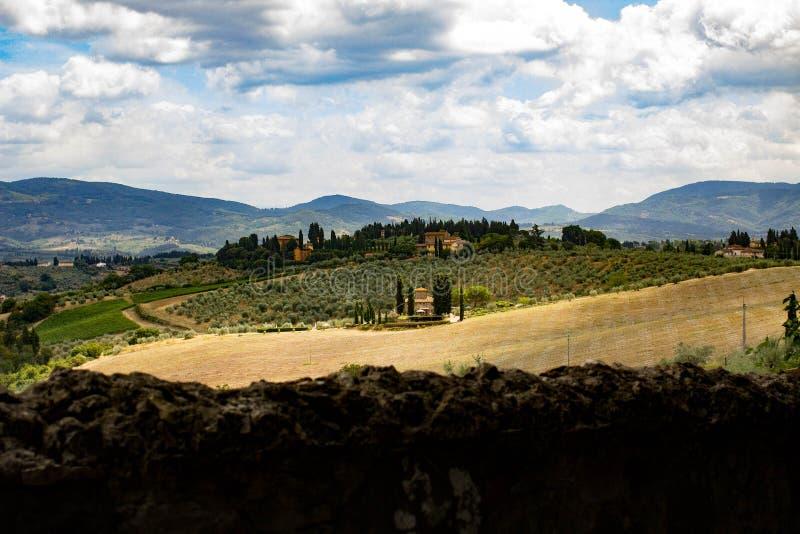 托斯卡纳从因普鲁内塔的国家风景 免版税图库摄影