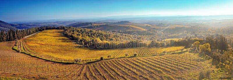 托斯卡纳的小山的全景日落的 免版税库存图片