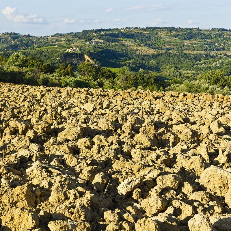 托斯卡纳的被犁的小山 免版税库存照片