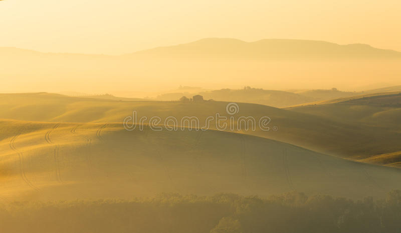 托斯卡纳的金黄小山 免版税库存图片