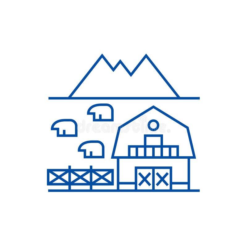 托斯卡纳线的象概念农场 托斯卡纳平的传染媒介标志的,标志,概述例证农场 库存例证