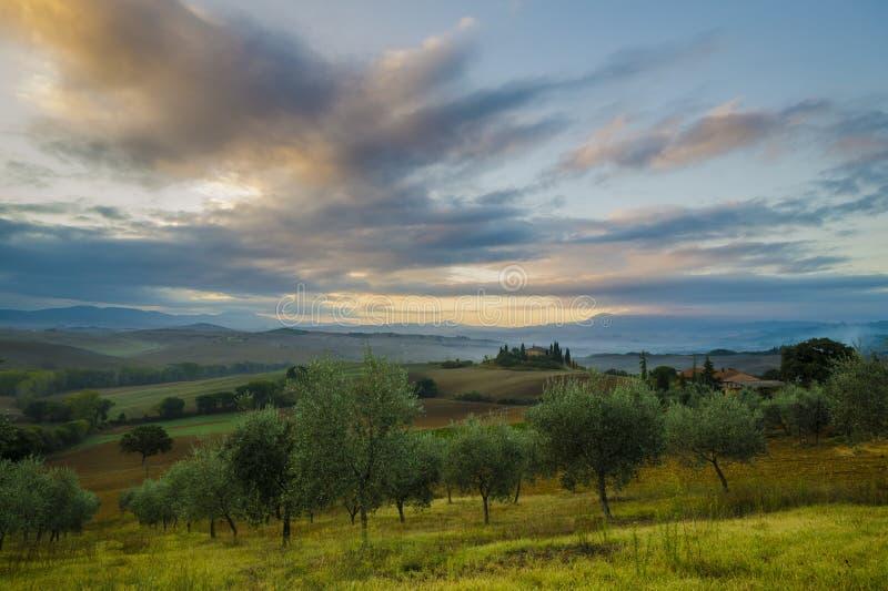 托斯卡纳风景,秋天领域,意大利, Val, D, Orcia 图库摄影