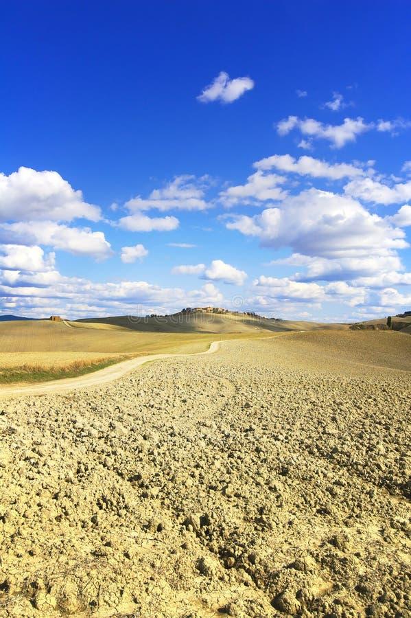 托斯卡纳,克利特Senesi农田国家(地区)横向,意大利。 图库摄影