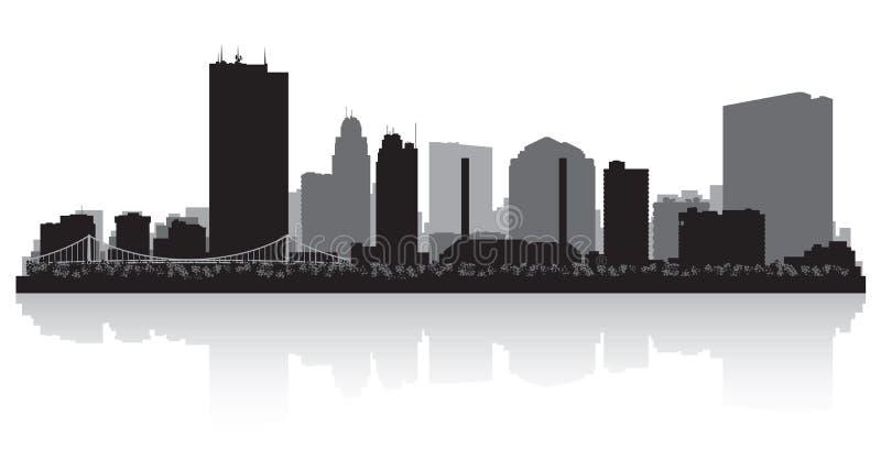 托莱多俄亥俄市地平线剪影 向量例证