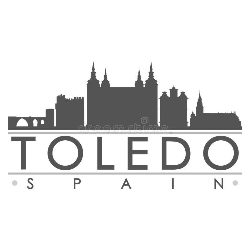 托莱多西班牙欧洲剪影象传染媒介艺术平的阴影设计地平线城市剪影模板商标 库存例证