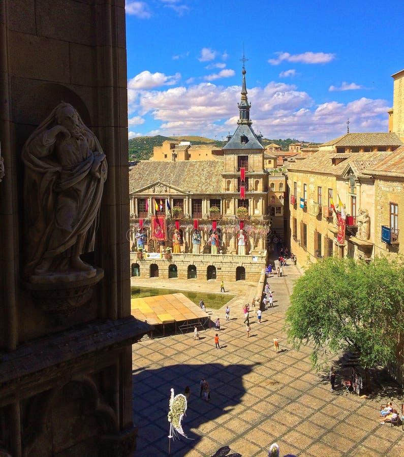 托莱多,西班牙-从大教堂塔的街市看法镇  免版税库存照片
