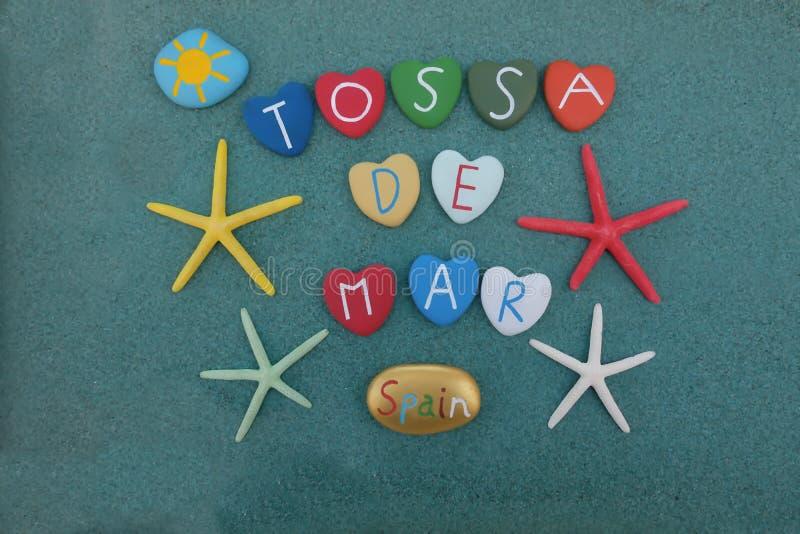托萨德马尔,西班牙,与多彩多姿的石头的纪念品 免版税库存照片