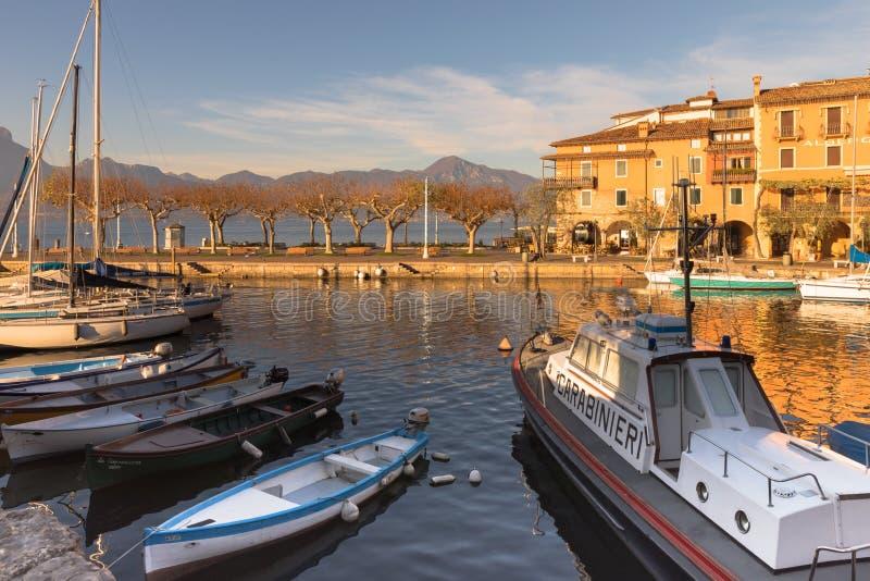 托里德尔贝纳科小游艇船坞意大利 库存照片